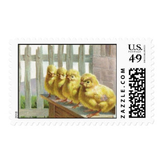 Easter - Chicks, Eggs & Bench - Antique Postcard Stamps