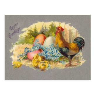 Easter - Chicks, Eggs & Rooster - Antique Postcard