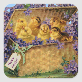 Easter Chicks in a Basket Square Sticker