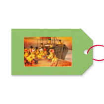 EASTER CHICKS ON A VOYAGE GIFT TAG IN GREEN