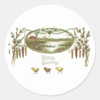 Easter - Chicks & Pond Arts & Crafts Postcard Classic Round Sticker