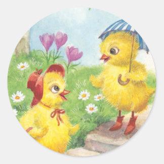 Easter chicks, vintage classic round sticker