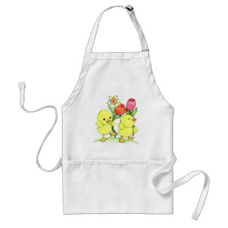 Easter Chicks With Flowers Adult Apron