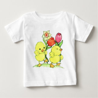 Easter Chicks With Flowers Baby T-Shirt