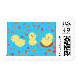 Easter Chicks with Flowers Postage