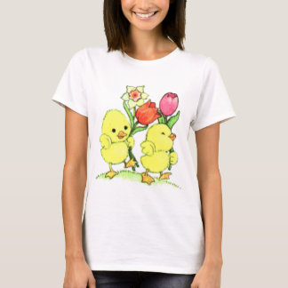 Easter Chicks With Flowers T-Shirt