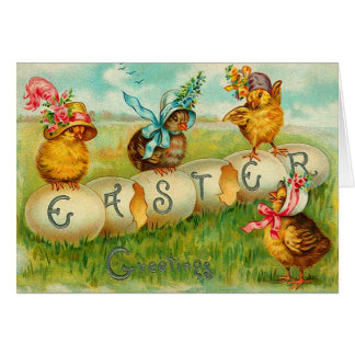 Easter Chicks with Hats Greeting Card