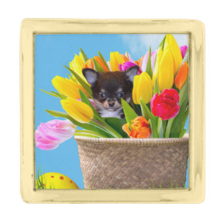 Easter Chihuahua dog Gold Finish Lapel Pin