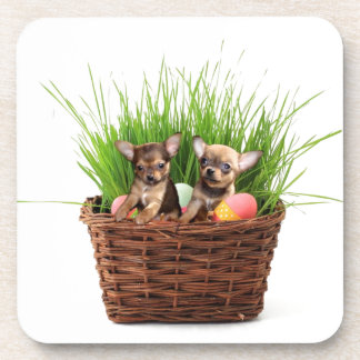 Easter Chihuahua puppies Beverage Coaster