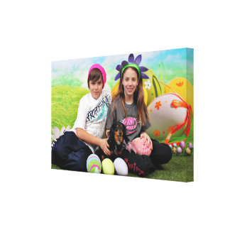 Easter - Chiweenie - Titus Stretched Canvas Print