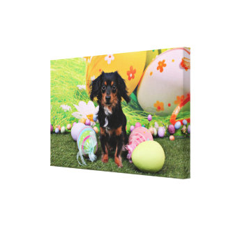 Easter - Chiweenie - Titus Stretched Canvas Prints