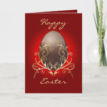 Easter Chocolate Egg Card - Easter chocolate egg surrounded by golden swirls.