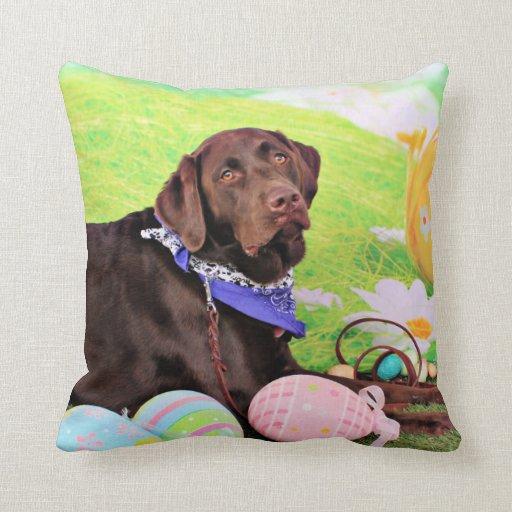 Easter - Chocolate Labrador - Hershey Pillow