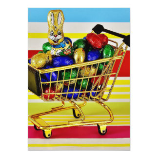 Easter Chocolate Shopping Cart Candy Happy Bunny Card