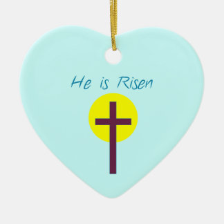 Easter Christian He is Risen Cross with Sun Ceramic Ornament