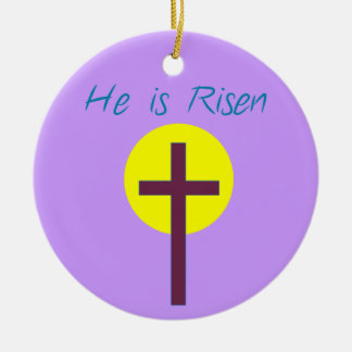 Easter Christian He is Risen Cross with Sun Double-Sided Ceramic Round Christmas Ornament