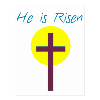 Easter Christian He is Risen Cross with Sun Postcard