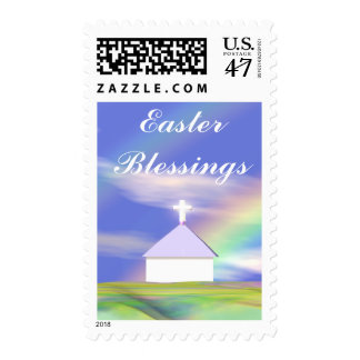 Easter Church and Rainbow Postage