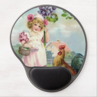 Easter Colored Painted Egg Rooster Daisy Gel Mouse Pad