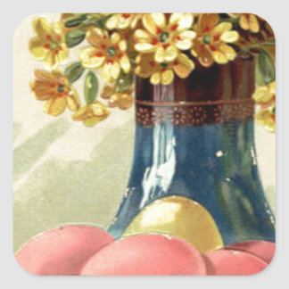 Easter Colored Painted Egg Vase Yellow Daisy Square Sticker