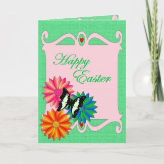 Easter Colorful Flowers and Butterfly card