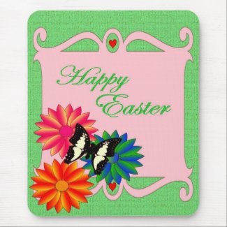 Easter Colorful Flowers and Butterfly mousepad