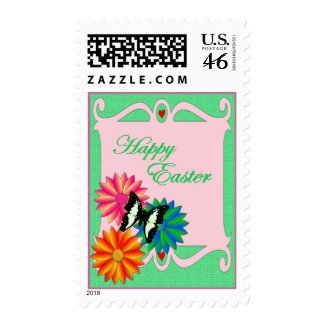 Easter Colorful Flowers and Butterfly stamp
