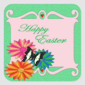 Easter Colorful Flowers and Butterfly sticker