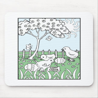 Easter Coloring Book Page Mouse Pad