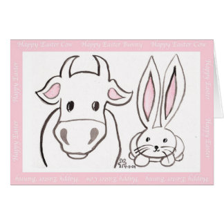 Easter Cow and Bunny Greeting Cards