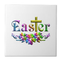 Easter Cross and Flowers Tile