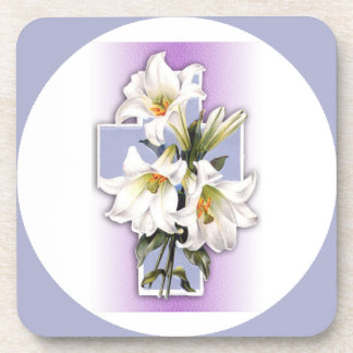Easter Cross and Lilies Custom Drink Coaster