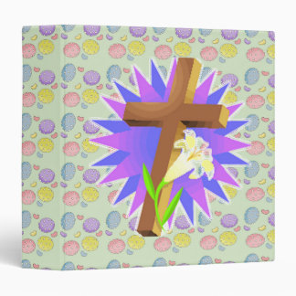 easter cross and lily design 3 ring binder