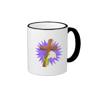 easter cross and lily design ringer coffee mug