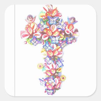 Easter Cross Butterflies Cherubs Mexican Tradition Square Sticker