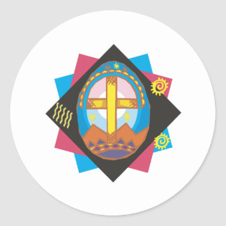 Easter Cross Classic Round Sticker
