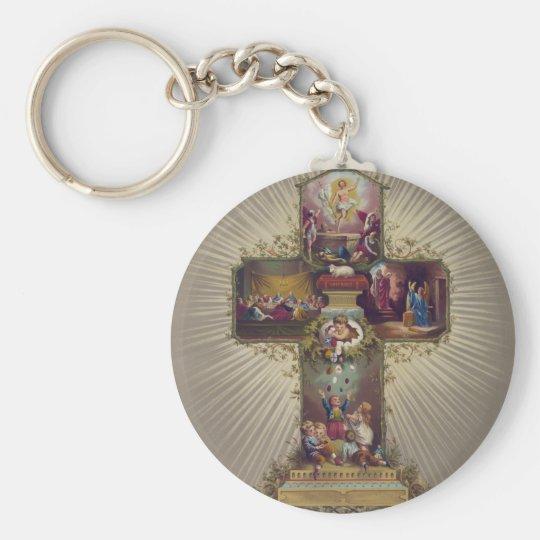 Easter Cross Keychain