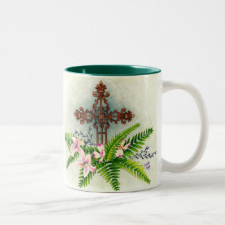 Easter Cross, O magnify the Lord with me, and l... Two-Tone Coffee Mug