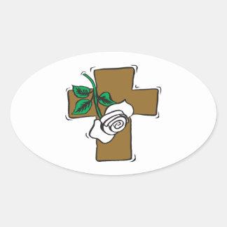 Easter Cross Oval Sticker