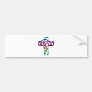 Easter Cross with flowers Bumper Sticker