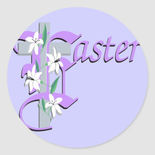 Easter Cross with Lilly Round Sticker