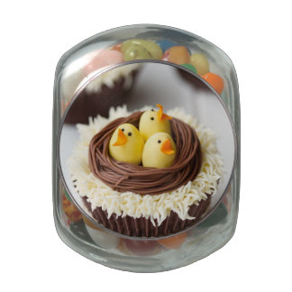 Easter Cupcakes Glass Candy Jars