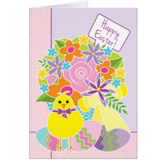 Easter Cute Yellow Chick Eggs Flowers and Basket Card