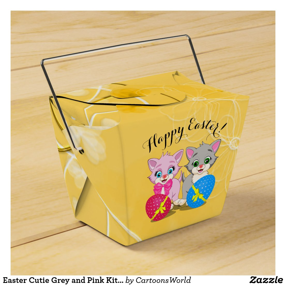 Easter Cutie Grey and Pink Kittens Cartoon Favor Box
