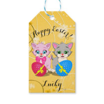 Easter Cutie Grey and Pink Kittens Cartoon Gift Tags