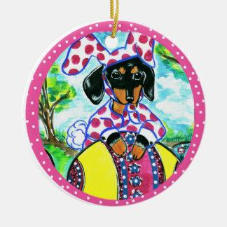 Easter Dachshund Ceramic Ornament