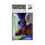 Easter Dachshund Mad Hatter Postage Stamp