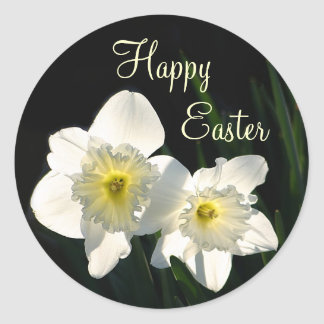 Easter daffodils classic round sticker