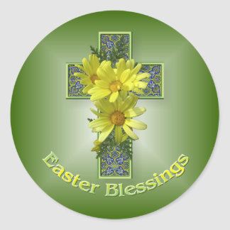Easter Daisies Cross Blessings Stickers