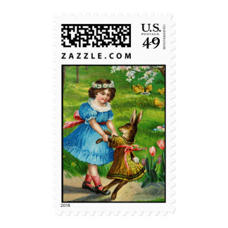 Easter Dance Antique Post Card Girl Bunny Stamp